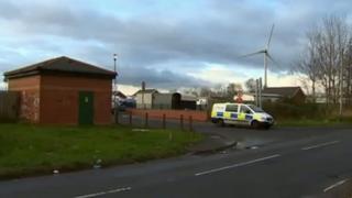 Police van outside Shirenewton caravan park