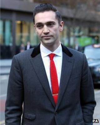 The boyfriend of late singer Amy Winehouse, Reg Traviss, arriving at Southwark Crown Court on 10 December