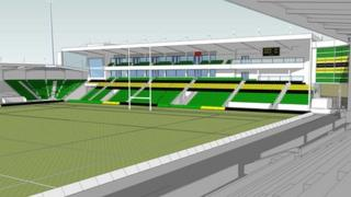 An artist's impression of the new stand at Franklins Gardens