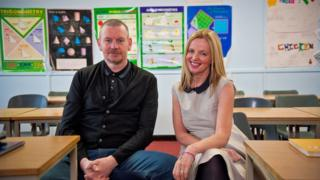 John Gordon Sinclair (Gregory) and Clare Grogan (Susan) returned to Abronhill school in Cumbernauld where they filmed Gregory's Girl
