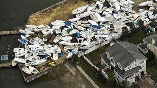 Boats damaged by storm Sandy