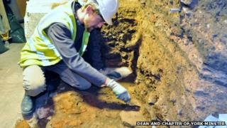 Ian Milsted working on a section of Roman road found at York Minster.