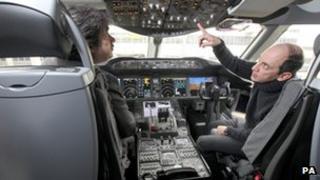 Mr Baker in the Qatar Dreamliner at Heathrow