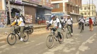 Nepalese army officers, including Gen Rana himself, cycled to the office on Friday