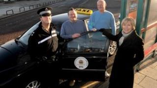 Inspector Jim Gray, Bob Snedden, Paul Barton and Elected Mayor Linda Arkley