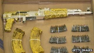 A gold-plated gun seized from a drug baron in Mexico