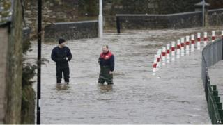 The River Eden at Cupar in Fife burst its banks after continued heavy rain