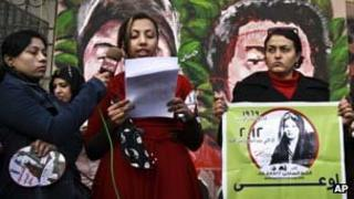 Women protest the new constitution in Cairo