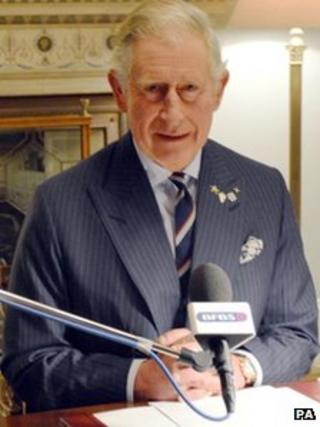 Prince Charles recording his message to troops