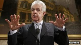 Italy's outgoing Prime Minister Mario Monti (28 Dec 2012)