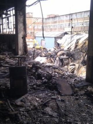 Twyford building fire scene