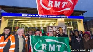 RMT workers outside King's Cross
