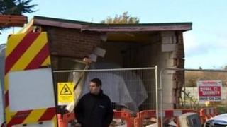 The damaged substation