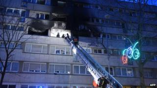 Scene of blaze in Gennevilliers, 2 Jan 13