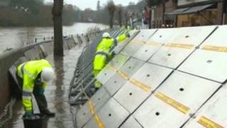 Flood defences being installed along the River Severn