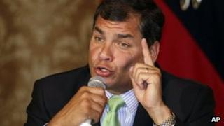 Rafael Correa at news conference in December 2012
