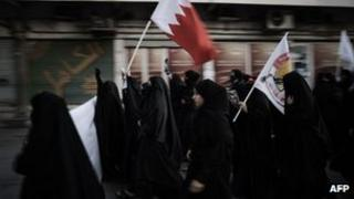 Bahraini Shia Muslim women demonstrate in support of jailed human rights activists and political prisoners in Sanabis village, west of Manama, on 6/1/13