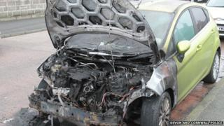 Burned-out Ford Fiesta