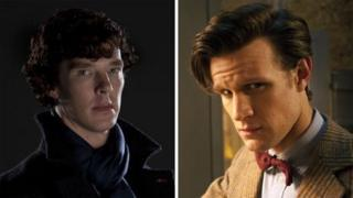Benedict Cumberbatch as Sherlock and Matt Smith in Doctor Who