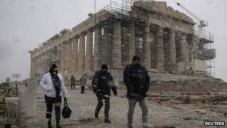 Snow at the Parthenon, Athens, on 8/1/13