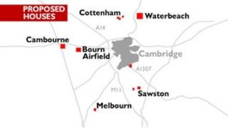 Proposed houses locations in Cambridgeshire