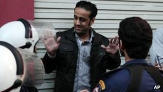 Sayed Yousif al-Muhafdha facing riot police in Manama, Bahrain (Dec 2012)