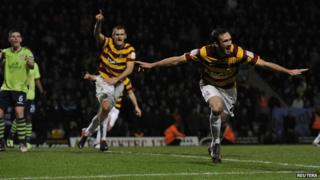 "Bradford City""s Rory McArdle celebrates after scoring against Aston Villa"