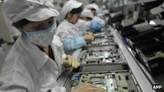 Workers at Foxconn factory in China