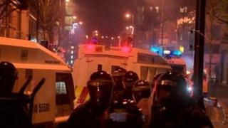 Trouble flares again after a flags protest in Belfast city centre