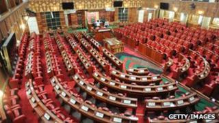 The newly refurbished parliament in Kenya photographed in August 2012