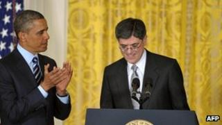 Barack Obama and Jack Lew at the White House (10 January 2013)