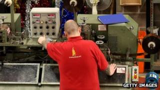 Man in a factory producing tinsel