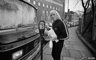 Jimmy Savile with his motor home in 1969