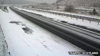 Snow on M74 at Beattock