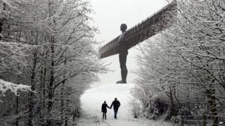 Snow covers the Angel of the North near Gateshead, northeast England