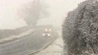 Snow on the A169 in North Yorkshire