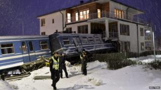 A stolen train crashed into house in Sweden