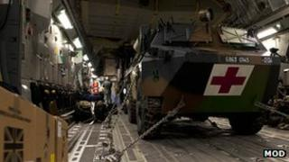 C17 aircraft is loaded in France