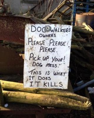 Farmer Paul Willis dog mess notice