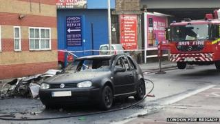 Burnt out car in Vauxhall