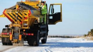 Generic gritter lorry in North Yorkshire