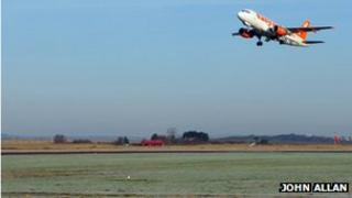 Easyjet aircraft taking off from Inverness