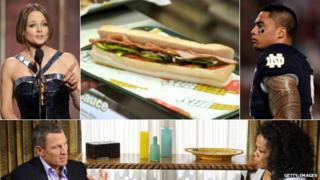 Jodie Foster, a subway sandwich, Manti Te'o, Lance Armstrong and Oprah