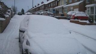 Snowy street in Newcastle