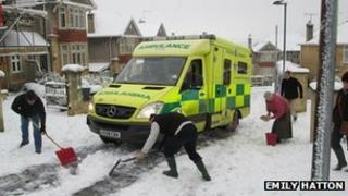 Ambulance trapped in ice