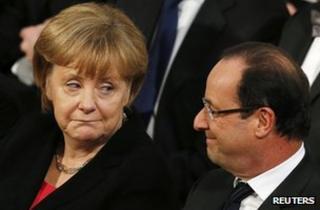 Chancellor Merkel and President Hollande in Oslo,