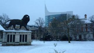 Forbury Gardens, Reading in the January snow