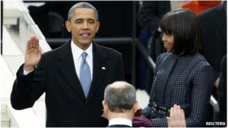 US President Barack Obama is sworn in by Supreme Court Justice John Roberts in Washington on 21 January 2013