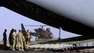 British C17 cargo aircraft at Mali air force base near Bamako