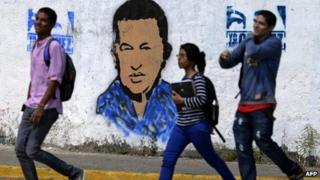 Hugo Chavez mural in Caracas, 21 January
